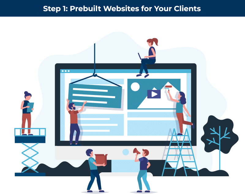 Step 1 White Labeled Prebuilt Sites for your Clients
