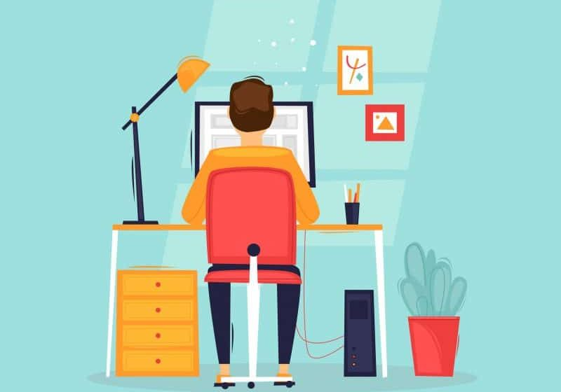 106104954 - programmer works at the computer, businessman, workplace, rear view. flat design vector illustration.